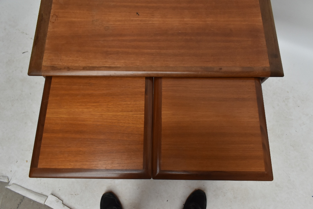 A G-plan teak nest of three coffee tables on shaped end supports, largest table height 51cm,width - Image 3 of 3
