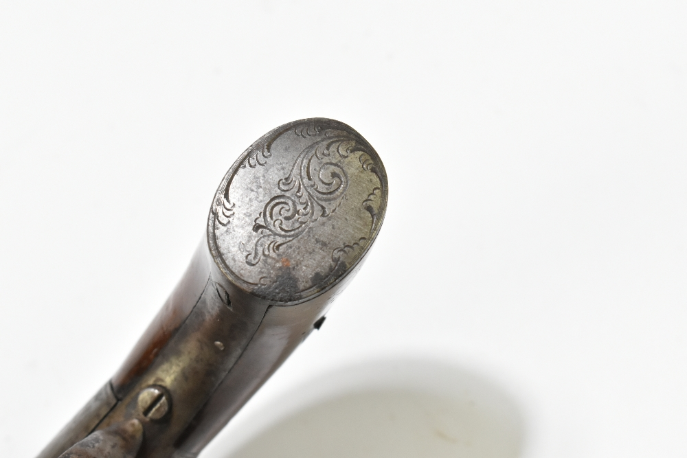 A 19th century six shot percussion cap pepper-pot revolver, with engraved lock plates and back strap - Image 11 of 14