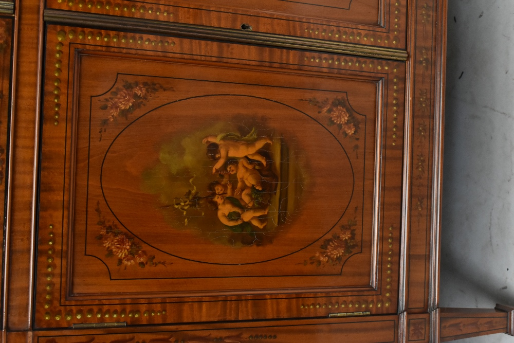 A fine late Victorian satinwood painted display cabinet with moulded cornice, serpentine side glazed - Image 3 of 8