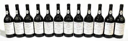 PORT; twelve bottles of Graham's 1985 vintage port (bottled in 1987), 75cl.Additional