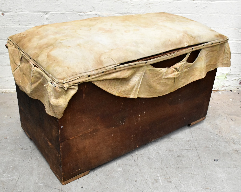 A stained pine blanket box of rectangular form, length 91cm (af).