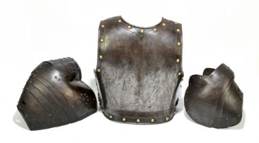 A steel and brass studded chest guard, approx 39 x 34cm, and two articulated pauldrons (3).