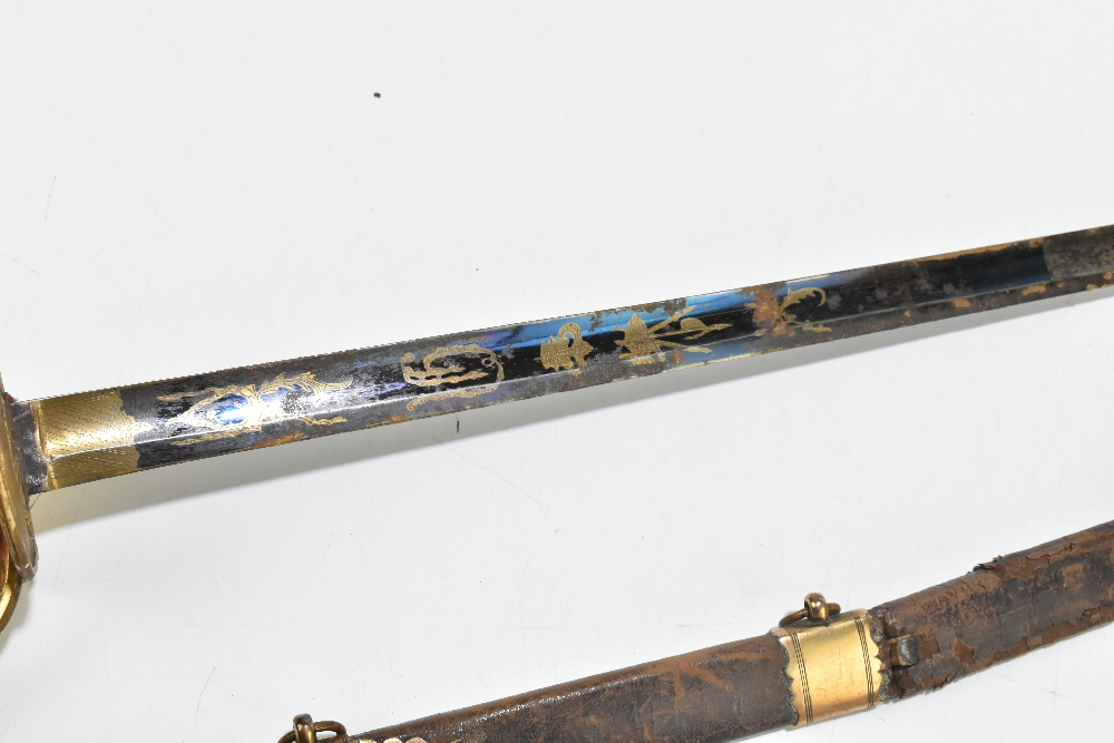 A 19th century Continental court-type sword, the partly blued fullered blade with engraved gilt - Image 3 of 7
