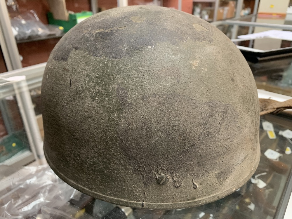 Six WWII and later helmets including a Brodie, American, French, further example labelled 'R' with - Image 10 of 13