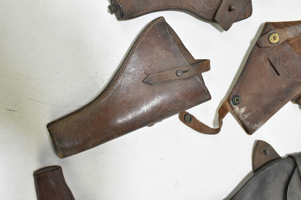 Five leather pistol holsters (5). Provenance: The Captain Allan Marshall Collection.Additional - Image 6 of 6