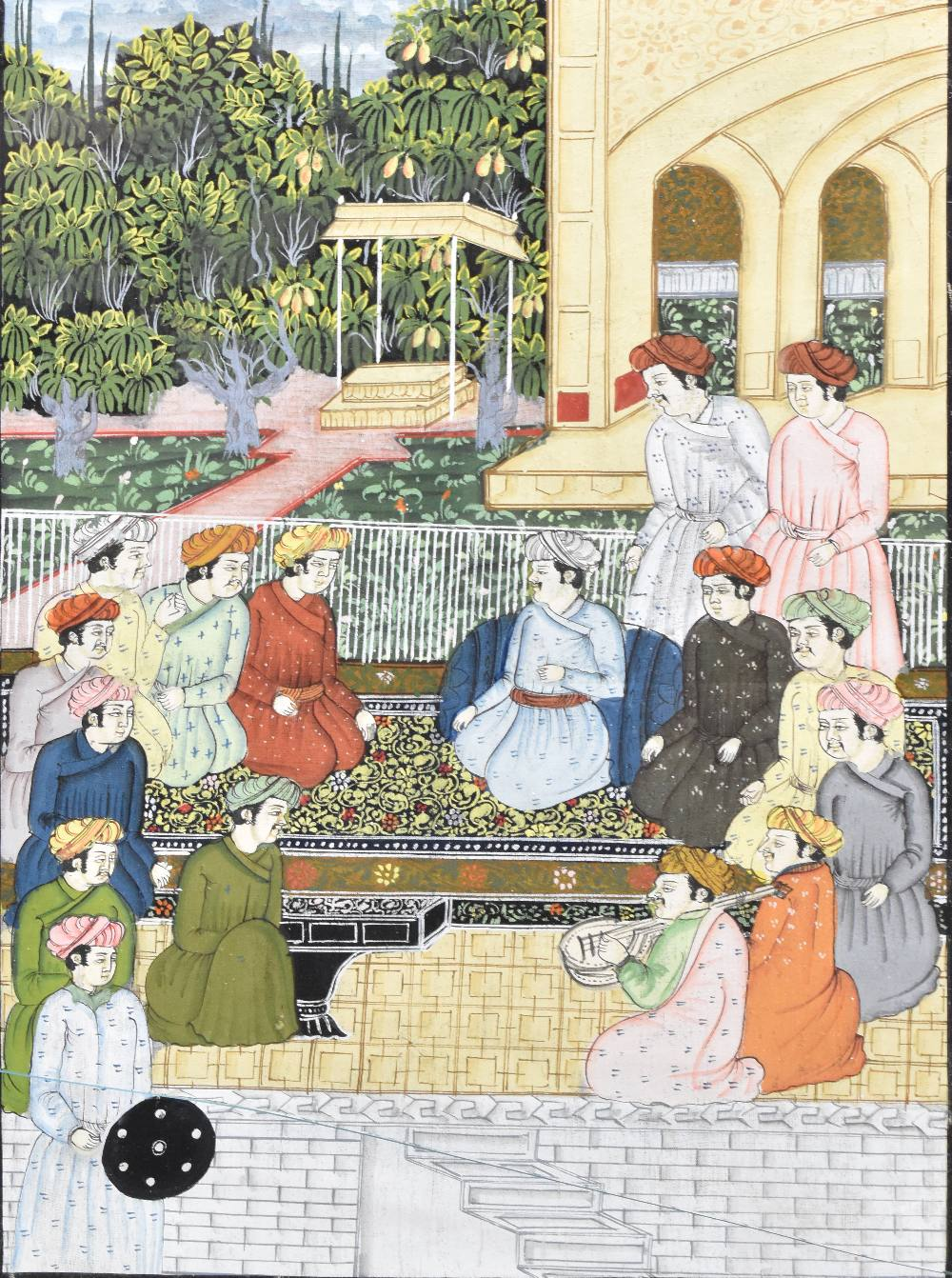 Two Indian Mughal watercolours, depicting figures beside temple scenes, largest 33x23cm, each framed - Image 3 of 3