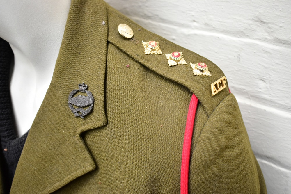 A No.2 dress military tunic with buttons and Tank Corps badges and trousers displayed on a mannequin - Image 6 of 9