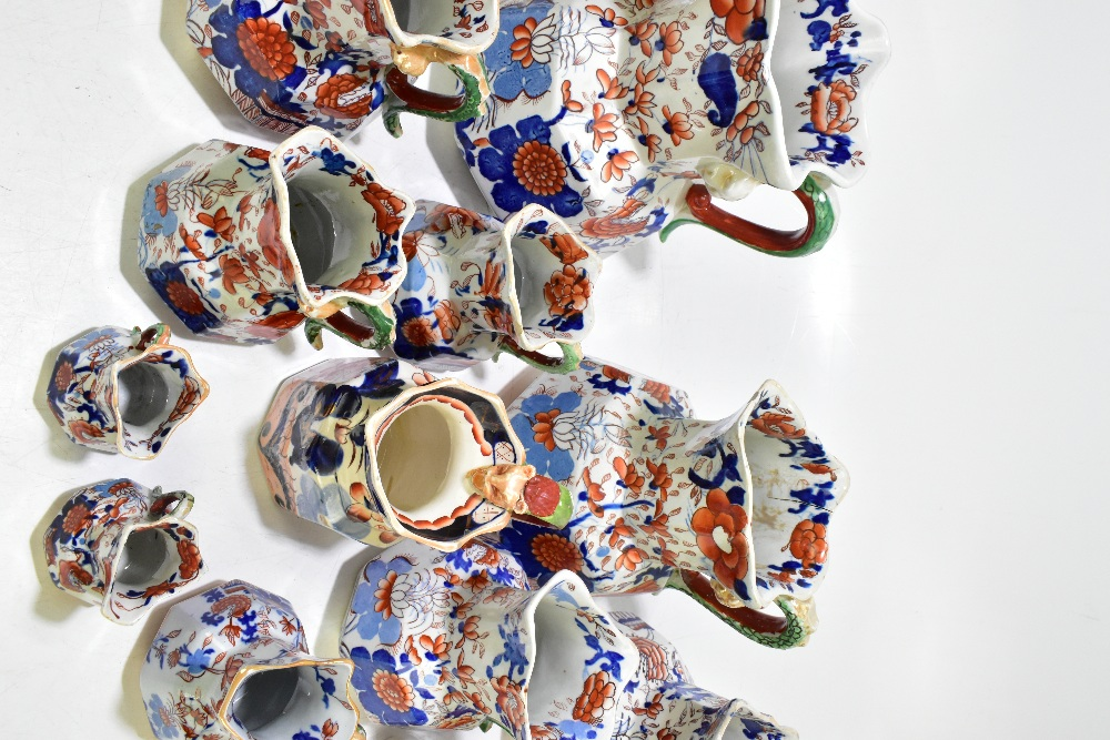 Thirteen assorted 19thcentury and later ironstone jugs, each decorated in the Imari palette, height - Image 3 of 9