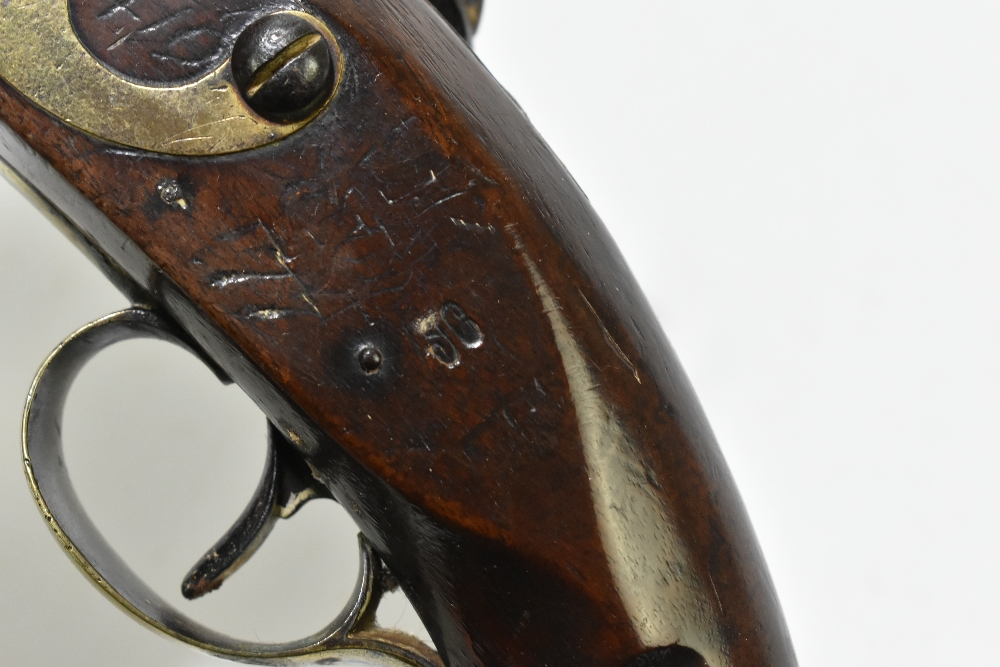 """H. KNOCK; a 19th century flintlock pistol with 9"""" barrel indistinctly stamped with various proof - Image 11 of 11"""