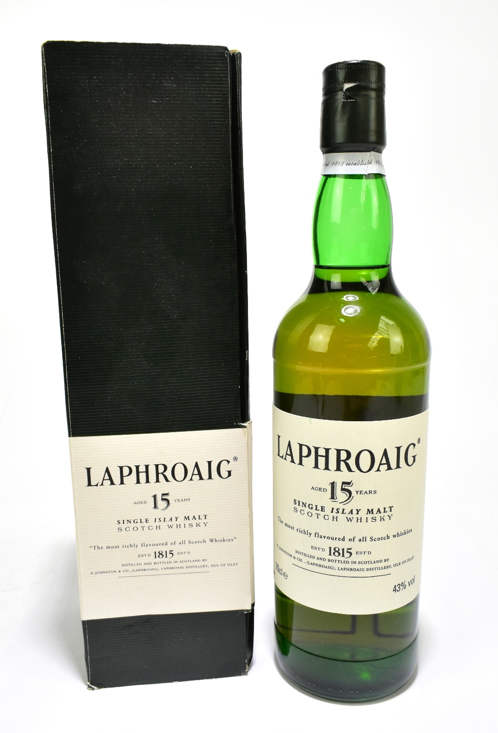 WHISKY; a single bottle of Laphroaig Aged 15 Years single Islay malt Scotch whisky, 70cl, 43%, in