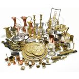 A collection of 19th century and later copper, brass and base metal items, including a pierced brass