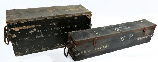 Two wooden ammunition boxes for Vickers machine guns, the larger with stenciled label 'chests .303 -