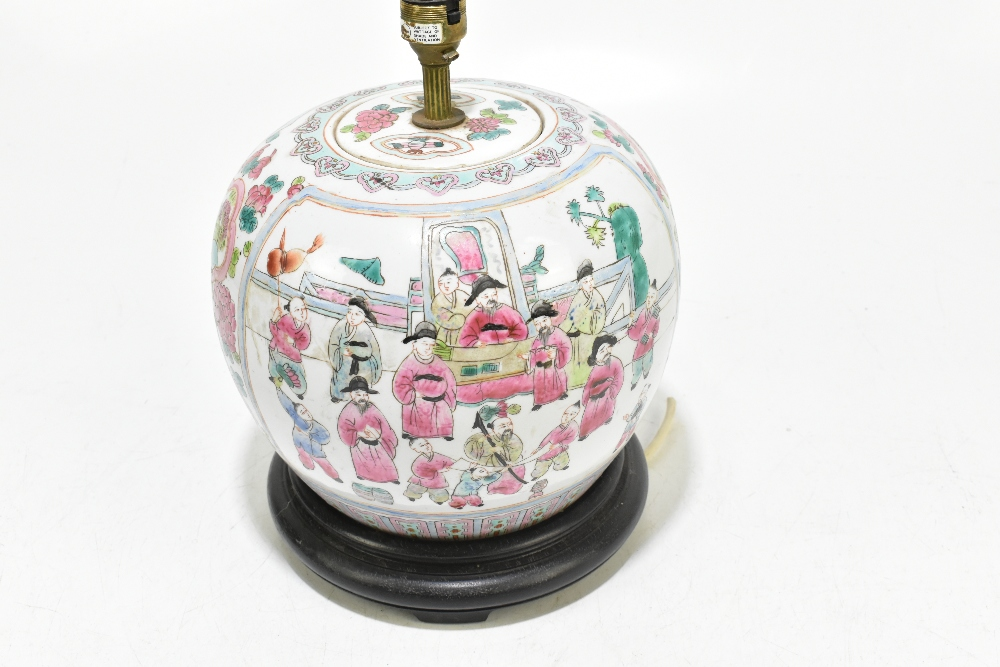 A Chinese Famille Rose ginger jar and cover of bulbous form, converted to a table lamp, decorated - Image 3 of 5