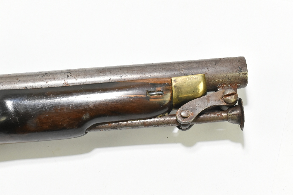 """A 19th century flintlock pistol, with 8"""" barrel stamped to the top 'D+XVI', further stamped with - Image 4 of 11"""