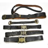 Five leather belts including three Police examples for Rochdale Borough Constabulary, Oldham