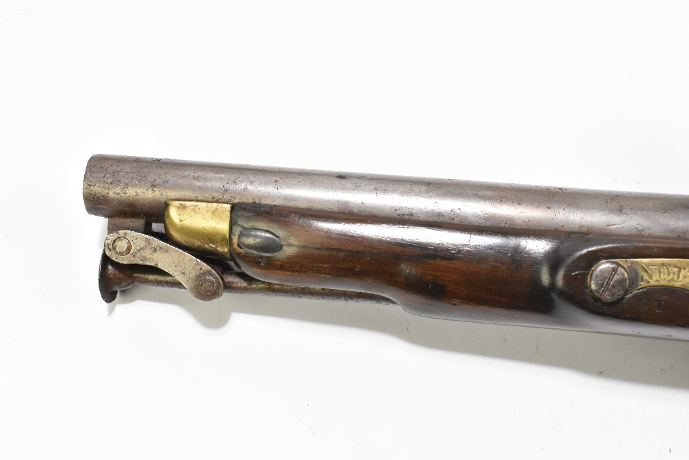 """A 19th century flintlock pistol, with 8"""" barrel stamped to the top 'D+XVI', further stamped with - Image 9 of 11"""