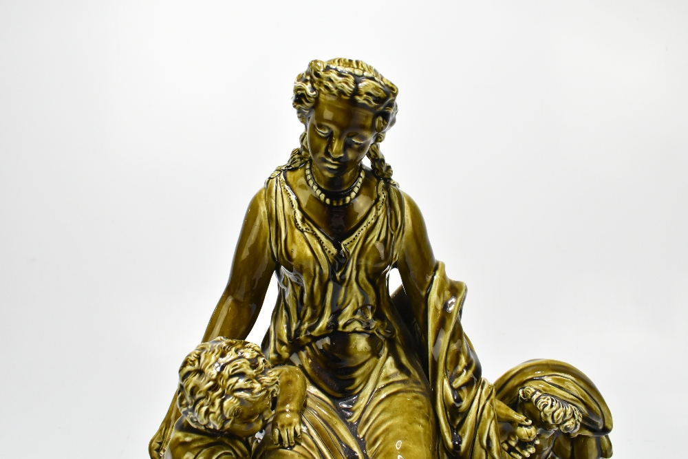 A large late 19th century Continental figure group depicting a maiden seated beside two children, - Image 3 of 8