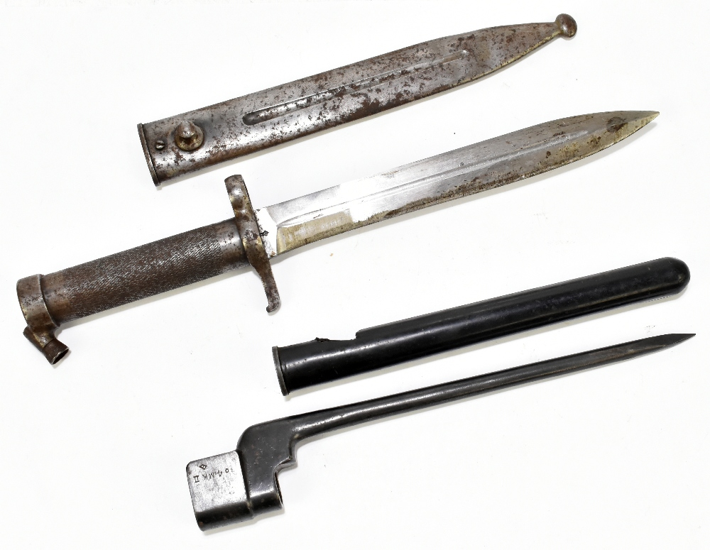 A late 19th/early 20th century M1896 bayonet by Carl Gustav produced to fit an M1899 rifle, blade