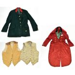 A hunting outfit comprising red jacket, green jacket and two mustard waistcoats. Provenance: The