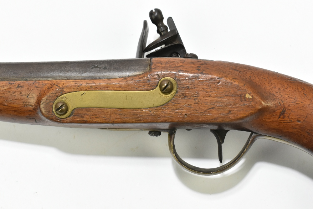 """A 19th century Belgian flintlock pistol, the 9"""" barrelindistinctly signed to the top flat next to a - Image 5 of 11"""