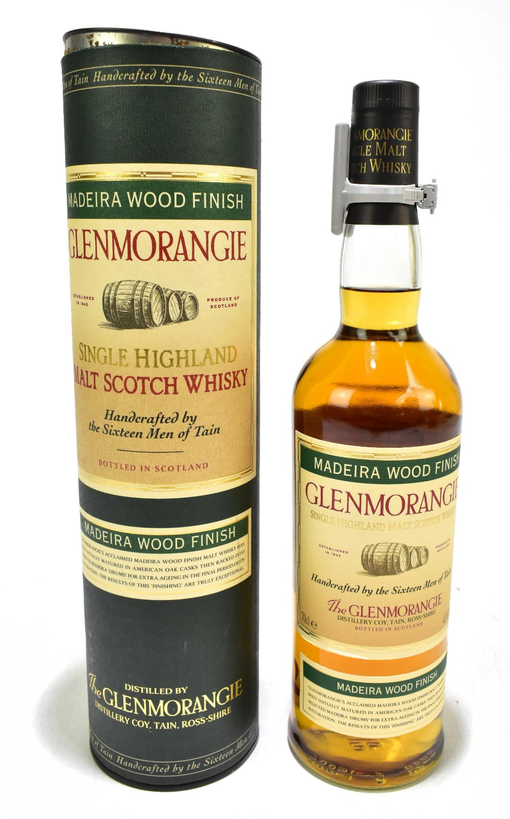WHISKY; a single bottle of Glenmorangie Madeira Wood Finish single Highland malt Scotch whisky,