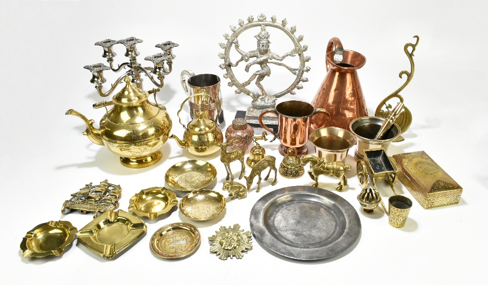 A collection of 19th century and later copper, pewter and other metalwareincluding a copper half