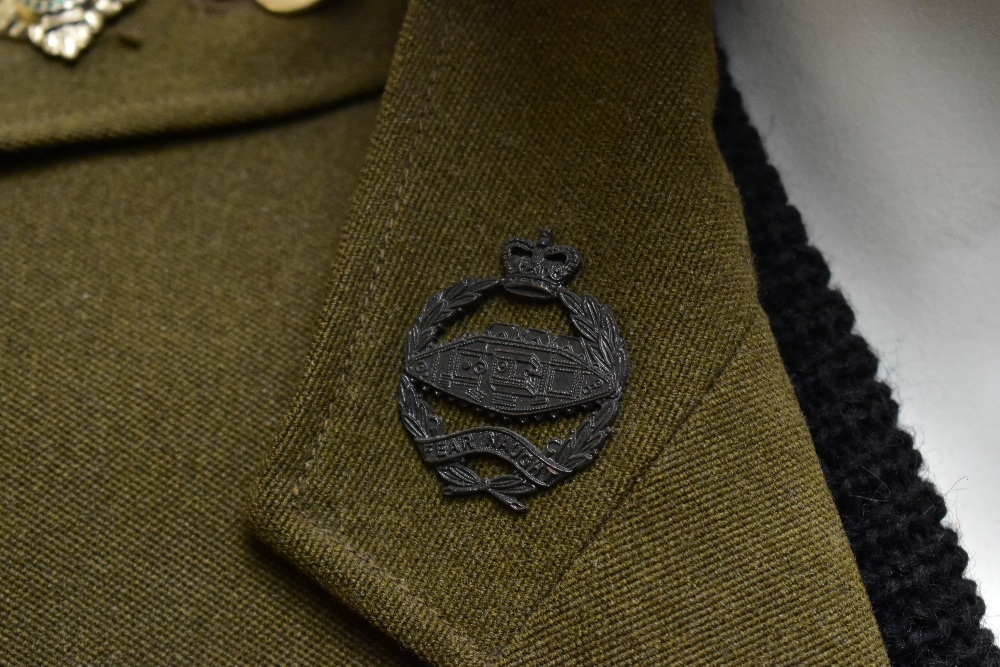 A No.2 dress military tunic with buttons and Tank Corps badges and trousers displayed on a mannequin - Image 3 of 9
