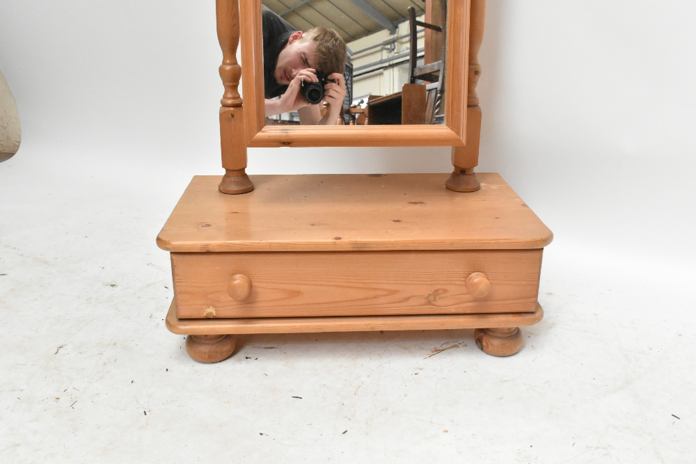 A modern pine cheval mirror with rectangular plate on a box base with a single drawer, height - Image 2 of 3