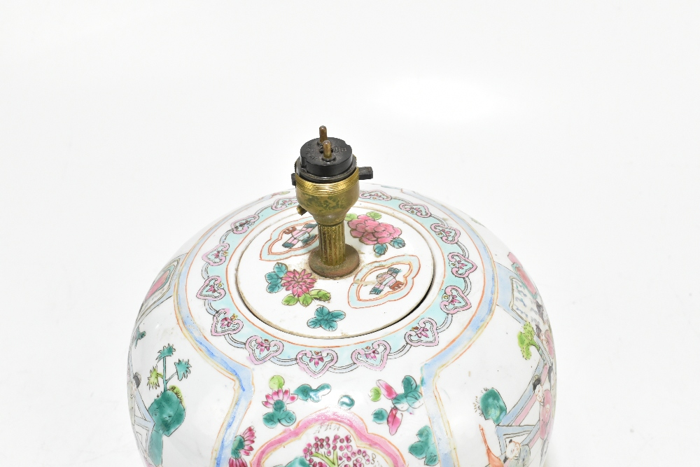 A Chinese Famille Rose ginger jar and cover of bulbous form, converted to a table lamp, decorated - Image 5 of 5