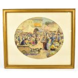 WALTER SCHROEDER (ac. 1885-1932); oval watercolour, market scene, signed and dated 1928, 30 x 36cm.