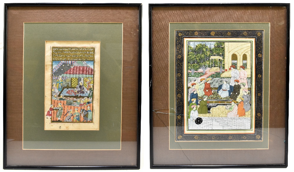 Two Indian Mughal watercolours, depicting figures beside temple scenes, largest 33x23cm, each framed