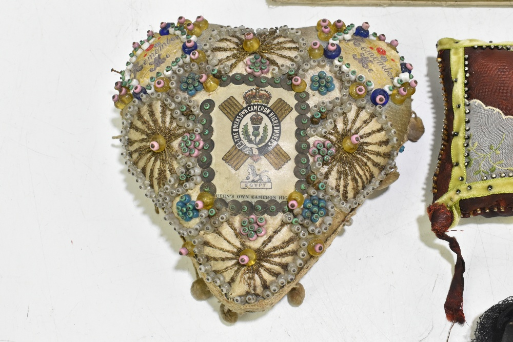 Two sweetheart pincushions for the L.N. Lancashire Regiment and the Queen's Own Cameron Highlanders, - Image 2 of 6