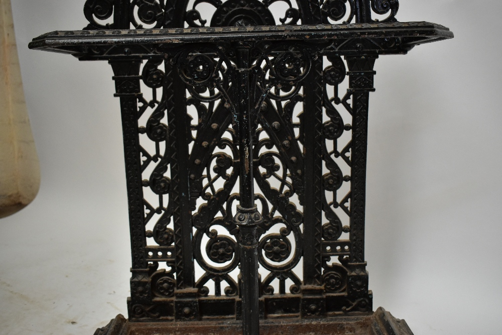 FALKIRK; a 19th century umbrella/stick stand with cast floral decoration and central section, with - Image 3 of 5