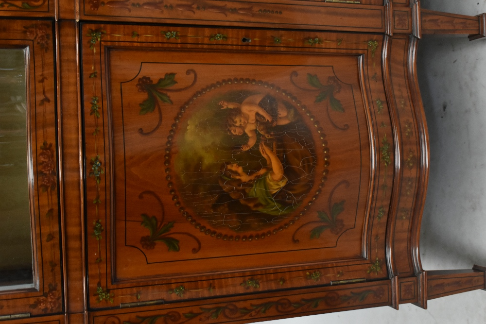 A fine late Victorian satinwood painted display cabinet with moulded cornice, serpentine side glazed - Image 2 of 8