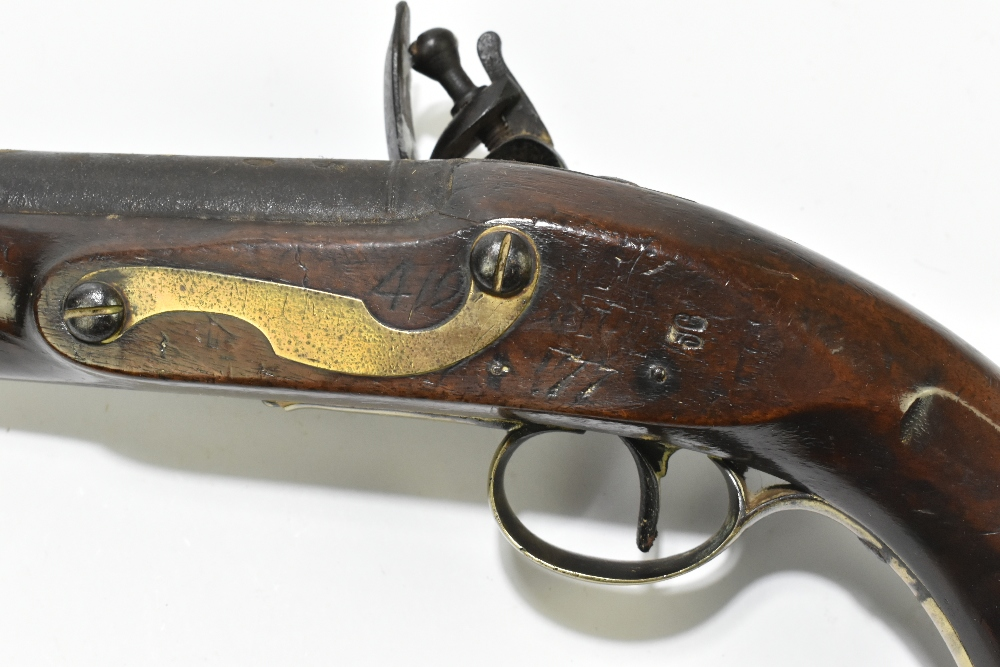 """H. KNOCK; a 19th century flintlock pistol with 9"""" barrel indistinctly stamped with various proof - Image 8 of 11"""