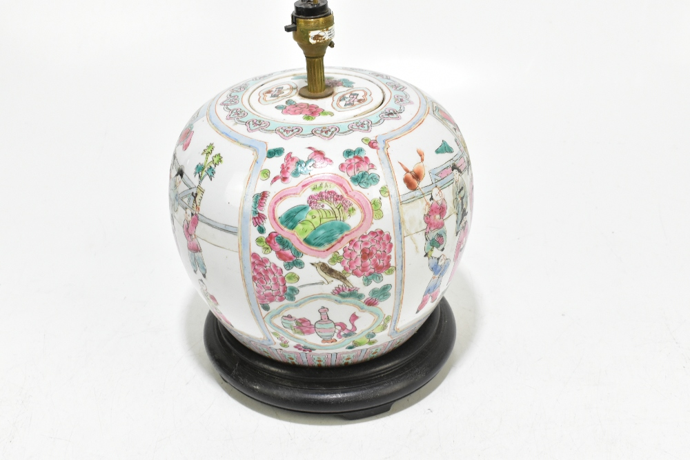 A Chinese Famille Rose ginger jar and cover of bulbous form, converted to a table lamp, decorated - Image 2 of 5