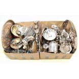 A large collection of assorted silver plate including a large twin handled gallery tray, egg