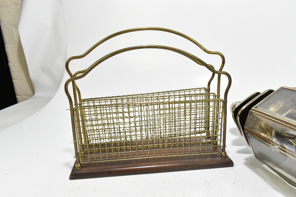 An early 20th century brass two division table top magazine rack, length 35cm, together with a - Image 2 of 6