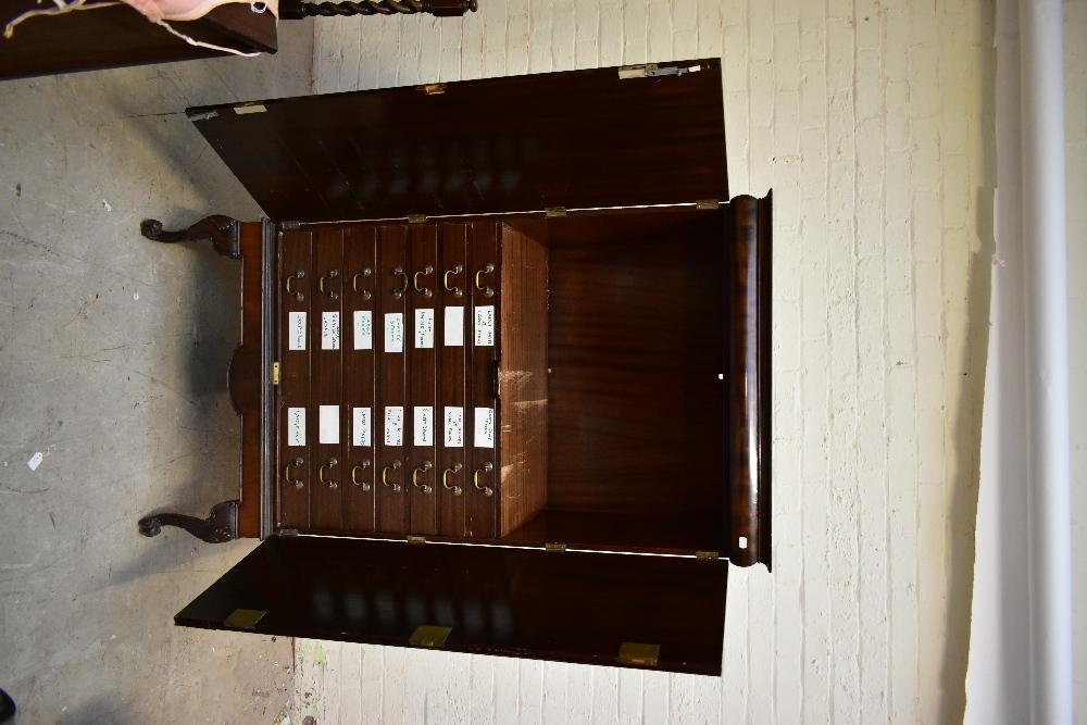 A 1950s mahogany veneered twin door silver cabinet, the twin panelled doors enclosing seven - Image 2 of 6