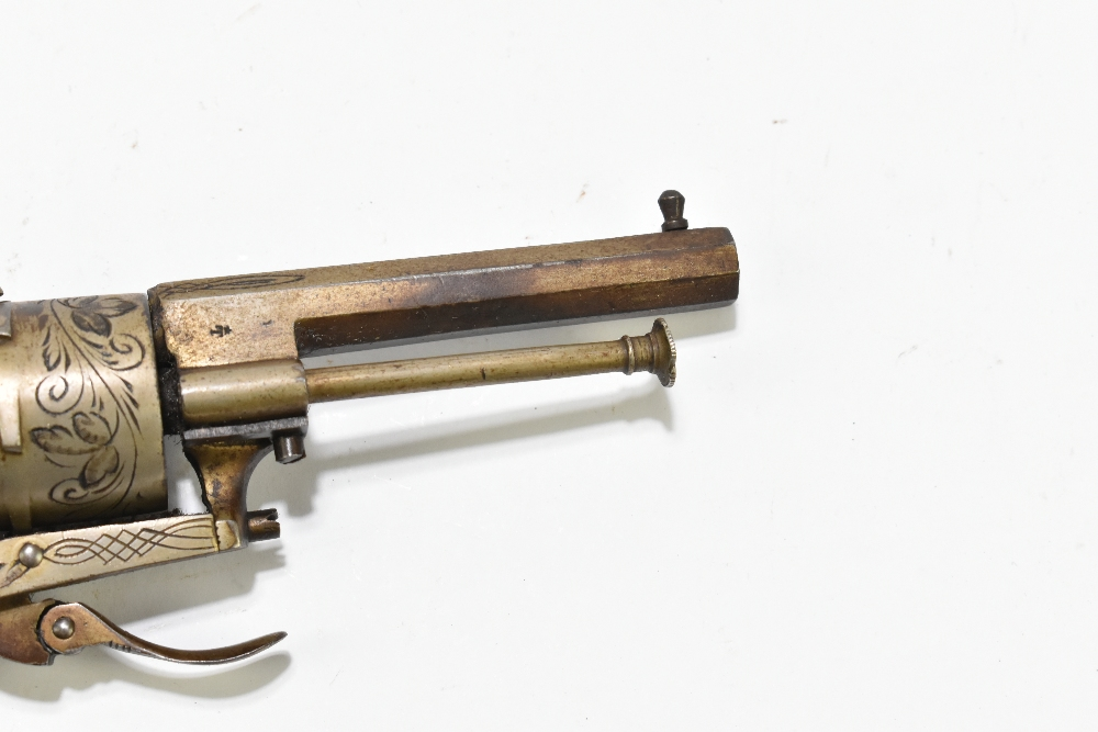 A Belgian pinfire double action revolver with folding trigger, simple engraving and checkered walnut - Image 8 of 8