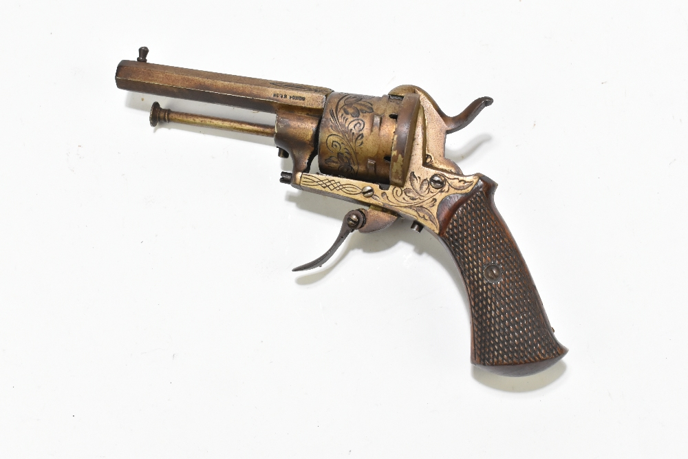 A Belgian pinfire double action revolver with folding trigger, simple engraving and checkered walnut - Image 2 of 8
