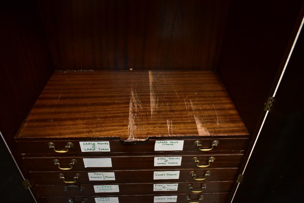 A 1950s mahogany veneered twin door silver cabinet, the twin panelled doors enclosing seven - Image 3 of 6
