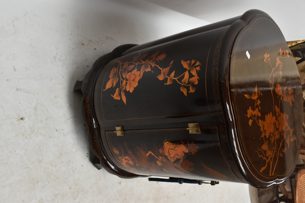 A modern Chinese lacquered drinks cabinet of shaped circular form, with chinoiserie decoration, - Image 3 of 4
