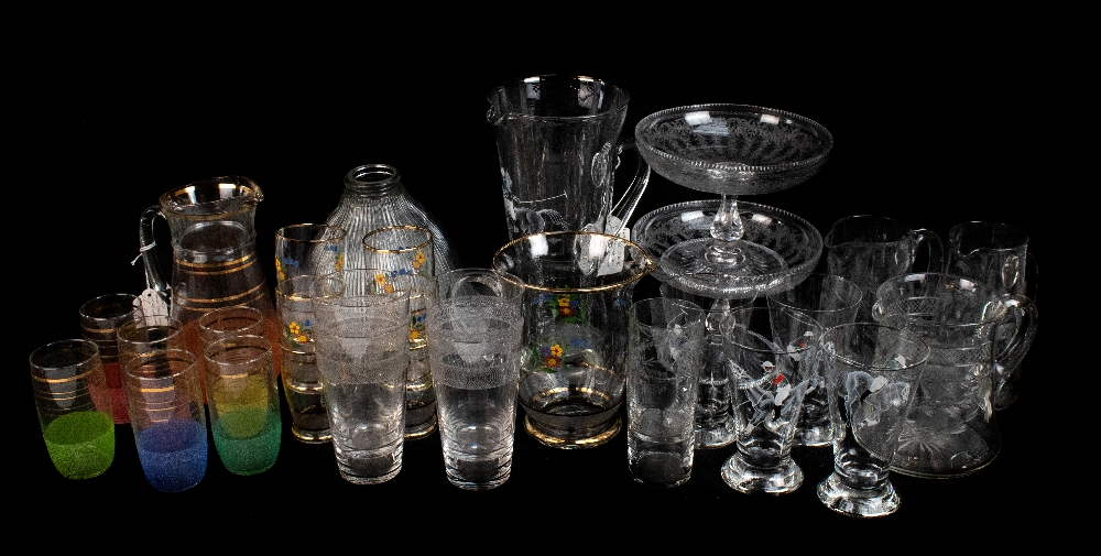 A collection of assorted glassware to include a 1950s lemonade set with enamelled detail depicting