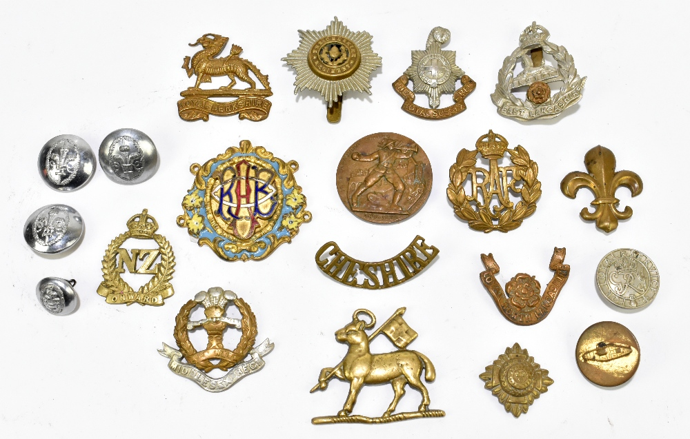 A small group of cap badges including New Zealand 'Onward', Royal Berkshire, Middlesex, RAF, etc,