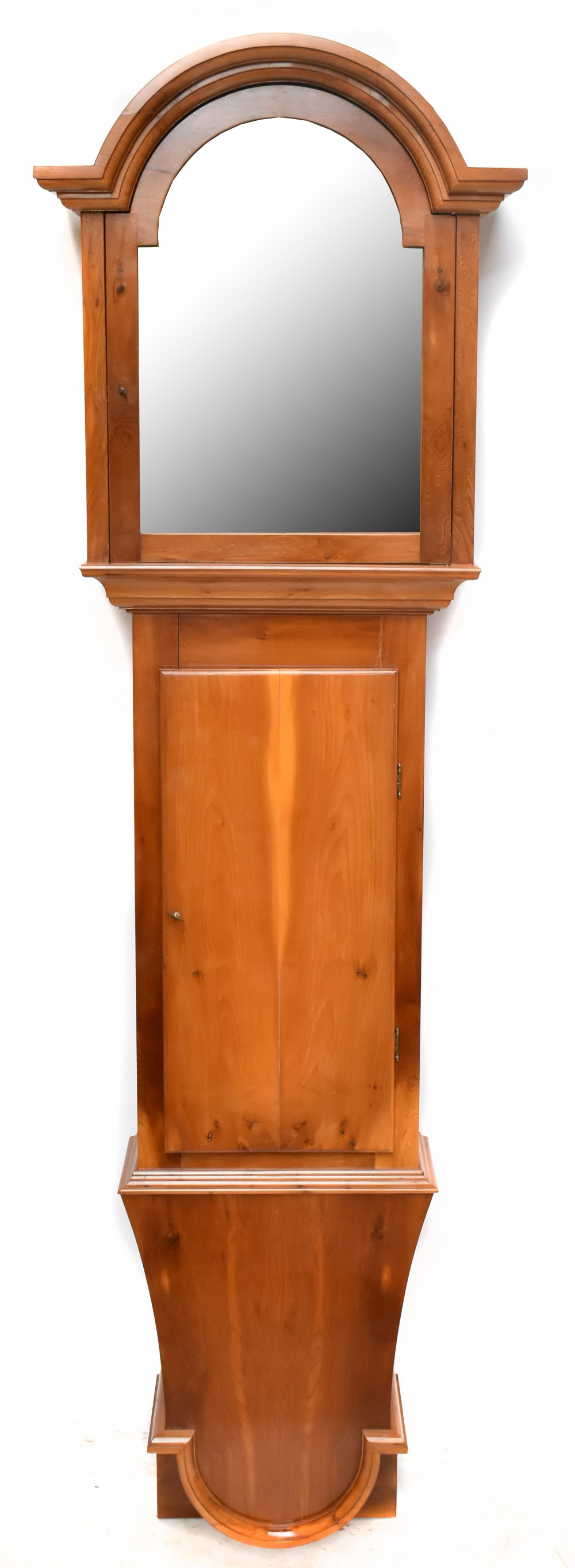 A modern yew wood wall hanging longcase clock case, with hood and trunk, height 200cm Provenance: