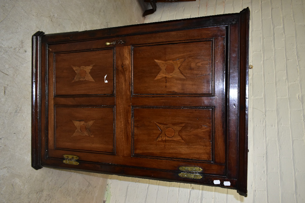 An 18th century oak corner cupboard, with inlaid detail to the single door, enclosing three shelves, - Image 2 of 3