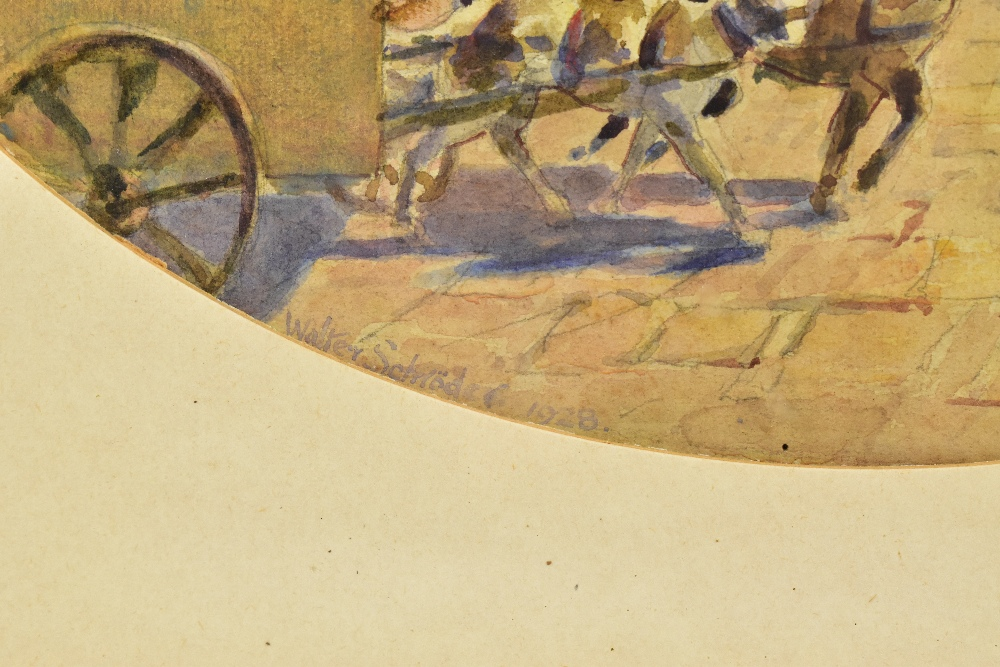 WALTER SCHROEDER (ac. 1885-1932); oval watercolour, market scene, signed and dated 1928, 30 x 36cm. - Image 3 of 4