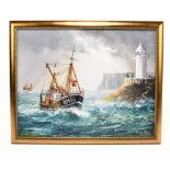 GORDON ALLEN; oil on canvas, a fishing trawler approaching Brixham Harbour, signed lower right, 39.5