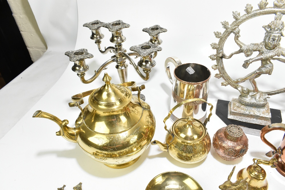A collection of 19th century and later copper, pewter and other metalwareincluding a copper half - Image 6 of 7